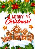 Merry Christmas winter cookie vector greeting card Stock Images