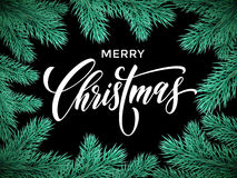 Merry Christmas winter greeting card. Christmas tree branches frame with lettering. Vector Merry Christmas greeting card, poster Royalty Free Stock Image