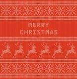 Merry Christmas winter holiday card with folk pattern Royalty Free Stock Images