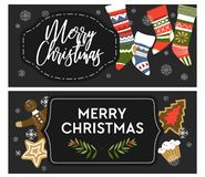 Merry Christmas winter holiday celebration posters with greetings. Vector. Socks and snowing weather, snowflakes and mistletoe, baked gingerbread cookies in vector illustration