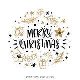 Merry Christmas. Winter Holiday greeting card with calligraphy. Hand drawn design elements. Handwritten modern lettering Royalty Free Stock Photography
