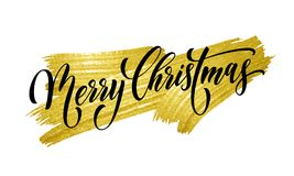 Merry Christmas quote greeting card calligraphy vector font lettering. Merry Christmas winter holiday greeting card. Vector calligraphy hand drawn font lettering Stock Images