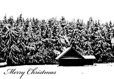 Merry Christmas Winter Log Cabin Royalty Free Stock Photos