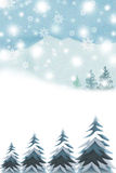 Merry Christmas Winter mountains and hills - Graphic painting texture Stock Photo