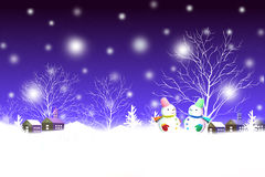 Merry Christmas winter night landscape with cute snowman couple - Graphic painting texture royalty free illustration