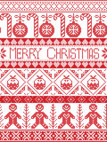 Merry Christmas winter pattern including gingerbread man, candy cane, bauble, Christmas Puddings, decorative ornaments,  in stitch Royalty Free Stock Photography
