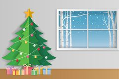 Merry Christmas and winter season greeting card. Christmas tree Royalty Free Stock Photo