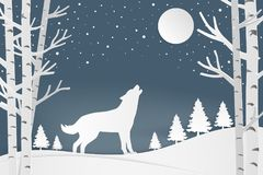 Merry Christmas and winter season greeting card. Wolf in forest Stock Photography