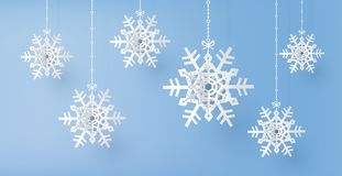 Merry Christmas and winter season with paper cut snow flake stock illustration