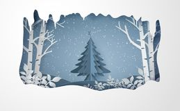 Merry Christmas and winter with snow and fir-tree. royalty free illustration
