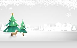 Merry christmas. Winter Snow  countryside landscape. Paper and craft art. Illustration vector