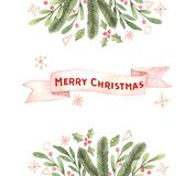 Merry Christmas. Winter Watercolor frame with snowflakes, holly, Royalty Free Stock Photo