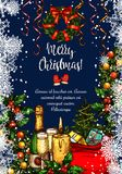 Merry Christmas vector sketch greeting card Stock Images