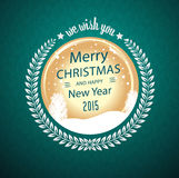 Merry christmas wish in circular badge Stock Images