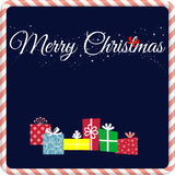 Merry christmas. Wish everyone a merry christmas with this simple image. Blue background with white text and sparkles Royalty Free Stock Photo