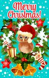 Merry Christmas holidays owl vector greeting card. Merry Christmas wish greeting card design of owl in Santa hat on holly wreath garland and gift stocking in royalty free illustration