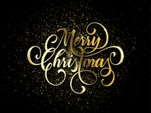 Merry Christmas wish greeting card of gold glitter confetti or sparkling fireworks. On premium luxury black background. Vector golden calligraphy lettering Stock Image
