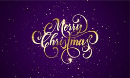 Merry Christmas wish greeting card of gold glitter confetti or sparkling fireworks. On premium luxury blue background. Vector golden calligraphy lettering Royalty Free Stock Image