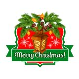 Merry Christmas lights ribbon vector greeting icon. Merry Christmas wish icon of ribbon and holly or fir wreath with Christmas lights garland. Vector New Year Royalty Free Stock Photos