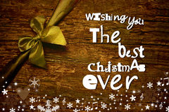 Merry Christmas wish message postcard Royalty Free Stock Image