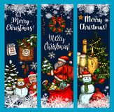 Merry Christmas wish vector greeting sketch banner Stock Photos
