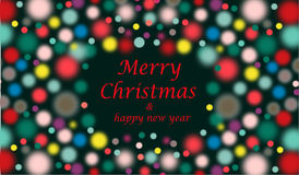 Merry Christmas wishes with multicolored bubbles. Merry Christmas  and happy new year text - greeting card or background  illustration Stock Photos