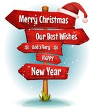 Merry Christmas Wishes On Red Signs Arrows Royalty Free Stock Image