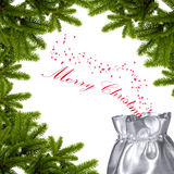 Merry christmas wishes. Silver envelope in the frame of fir Stock Photography