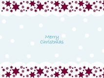 Merry Christmas wishes with snow and stars decoration. Simple, beautiful shapes with festive ornaments. Clean design for Christmas prints Royalty Free Stock Photos