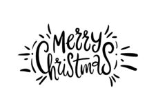 Merry Christmas. Wishes and Winter Holiday Elements. Christmas. Cartoon vector illustration. Isolated on white background royalty free illustration