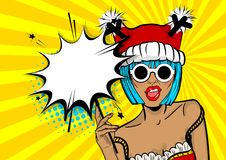 Merry Christmas woman pop art hold sparkler. Marry Christmas young beautiful pop art woman pompom deer hat. Vector illustration popart wow face. Dare girl in red Royalty Free Stock Image