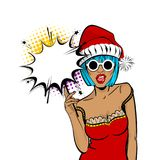 Merry Christmas woman pop art hold sparkler. Marry Christmas young beautiful pop art woman pompom hat. Vector illustration  halftone popart wow face. Dare girl Royalty Free Stock Photography