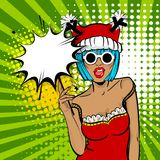 Merry Christmas woman pop art hold sparkler. Vector illustration popart wow face. Dare girl in red dress hold hand bengal fire, sparkler empty comic text speech Royalty Free Stock Photo