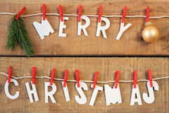 Merry christmas. With wood background Royalty Free Stock Images