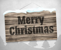 Merry Christmas Wood Board Winter Design Stock Images