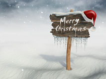 Merry Christmas wood sign Royalty Free Stock Photo
