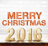 Merry christmas 2016 wood texture on marble table with white cer Stock Image