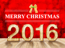 Merry christmas 2016 in wood texture in perspective room with sp Royalty Free Stock Images