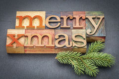 Merry Christmas in wood type Royalty Free Stock Photos