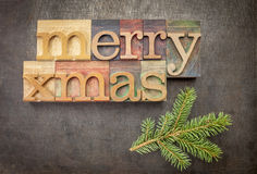 Merry Christmas in wood type Stock Photography