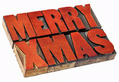 Merry Christmas in wood type Stock Photo