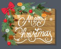 Merry Christmas. Wooden background with branches, spices and a beautiful red bow vector illustration