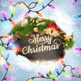 Merry Christmas wooden board garland Stock Photo