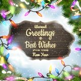 Merry Christmas wooden board garland Royalty Free Stock Photo