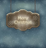 Merry Christmas wooden board, night holiday background. Illustration Merry Christmas wooden board, night holiday background - vector Stock Photography