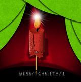 Merry Christmas - Wooden Candle and Comet Star stock illustration