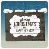 Merry Christmas Wooden Signboard With Snow. Stock Photos