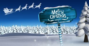 Merry Christmas and Wooden signpost in Christmas Winter landscape and Santa`s sleigh and reindeer`s. Digital composite of Merry Christmas and Wooden signpost in Stock Image