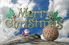 Merry Christmas word and beauty sky with white clouds Royalty Free Stock Photography