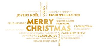 Merry christmas greeting card - gold and white. Merry christmas word cloud in different languages multilingual. gold and white Stock Image